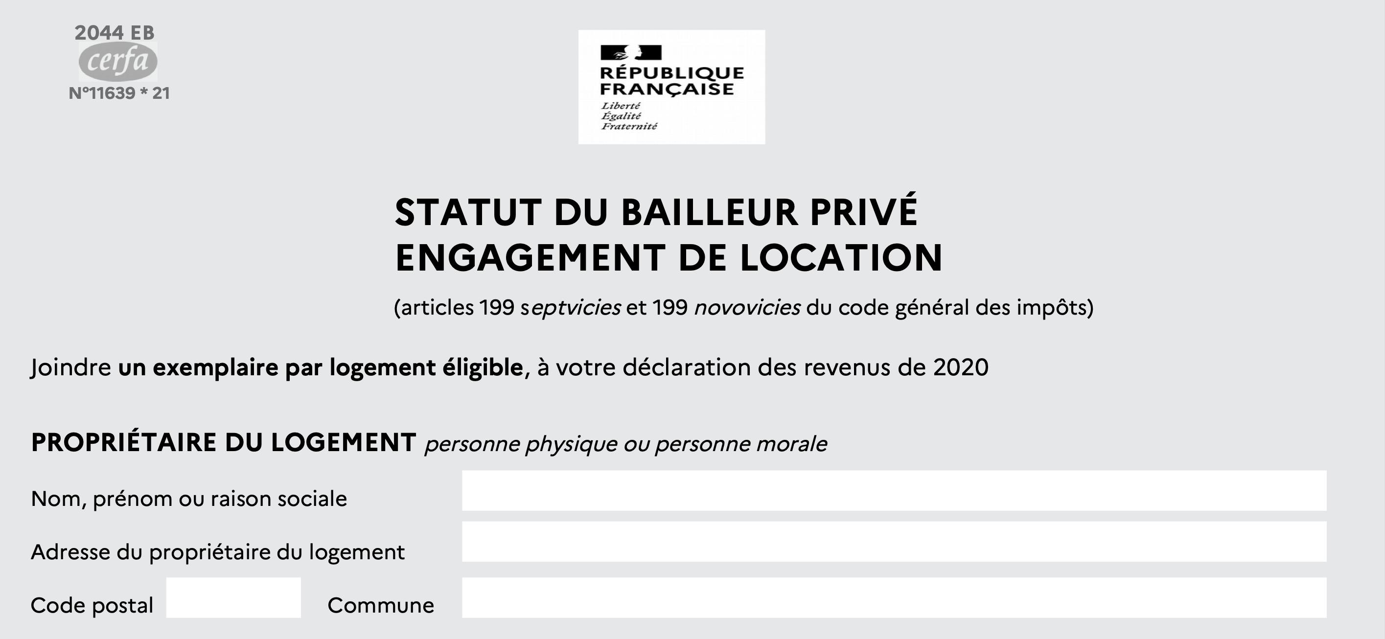 Statut de bailleur privé engagement de location