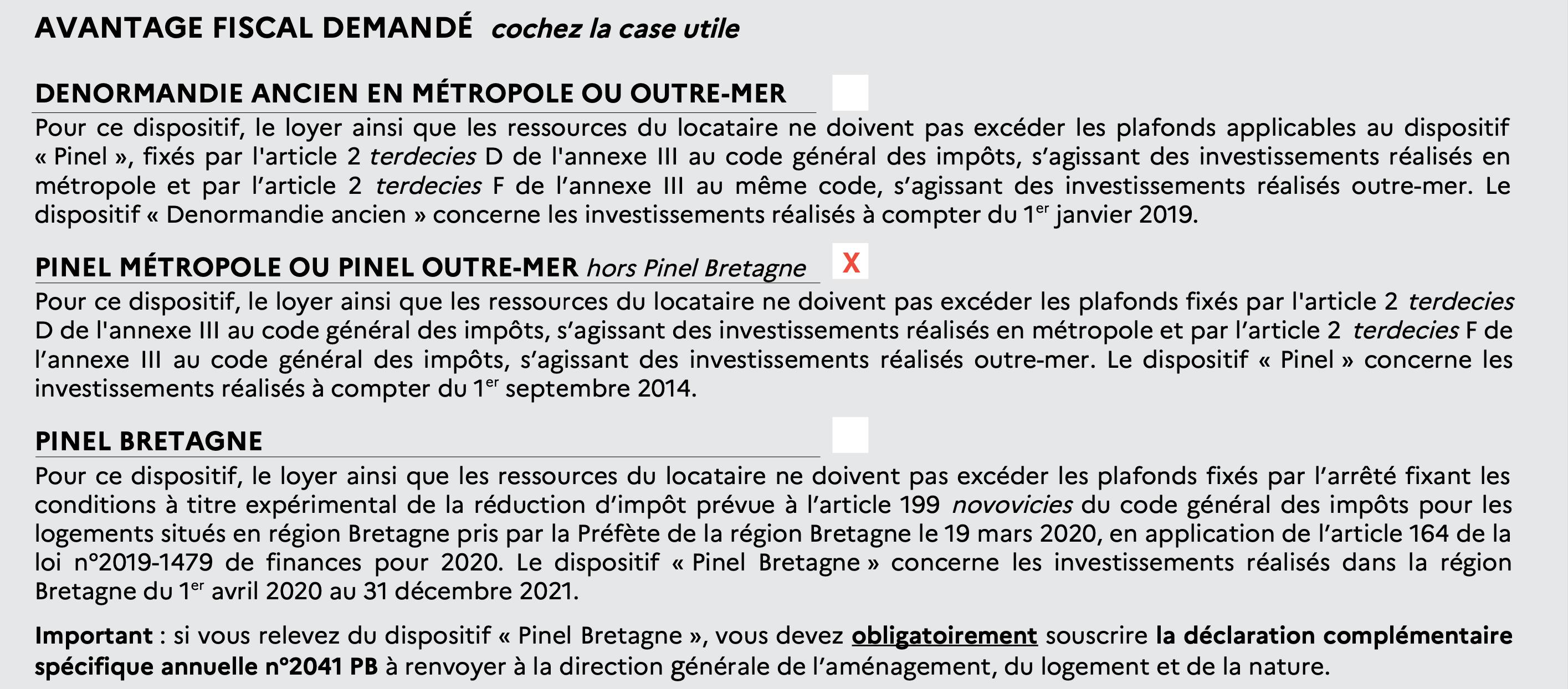 caractéristiques logement déclaration fiscale pinel