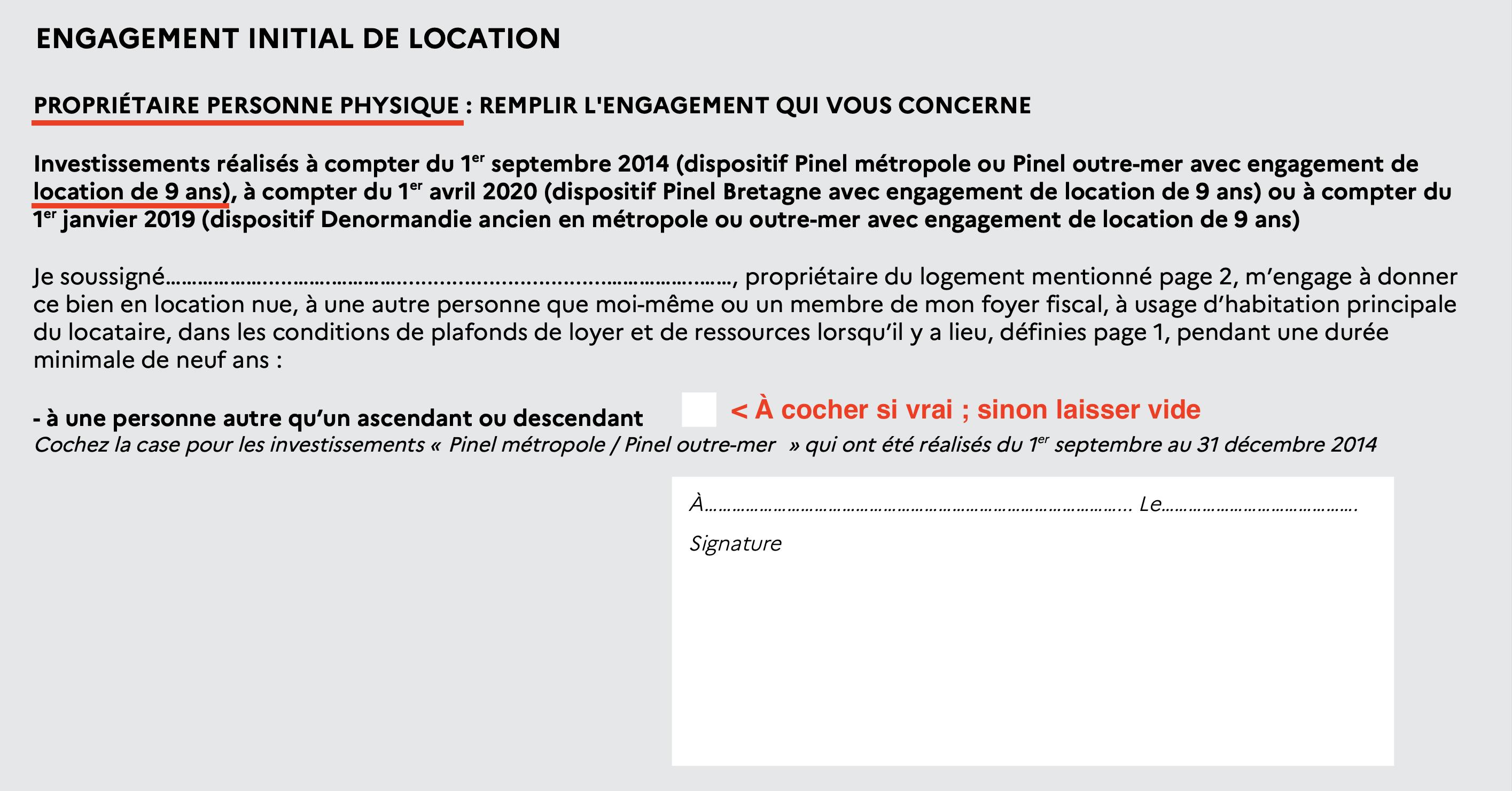 signature engagement déclaration fiscale pinel