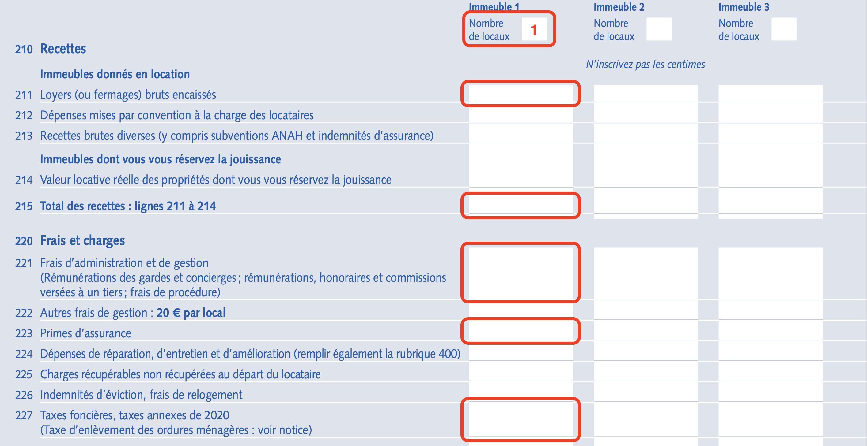 recettes et depenses déclaration fiscale pinel